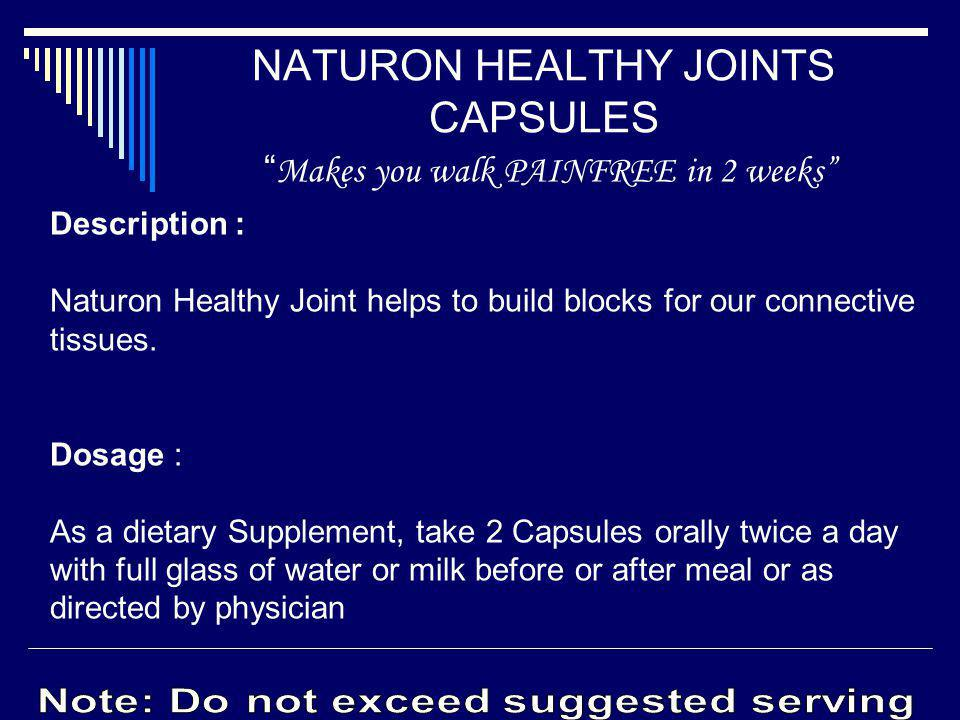 NATURON HEALTHY JOINTS CAPSULES Makes you walk PAINFREE in 2 weeks