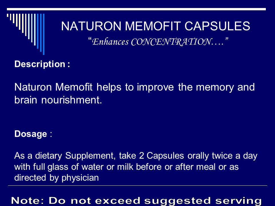 NATURON MEMOFIT CAPSULES Enhances CONCENTRATION….