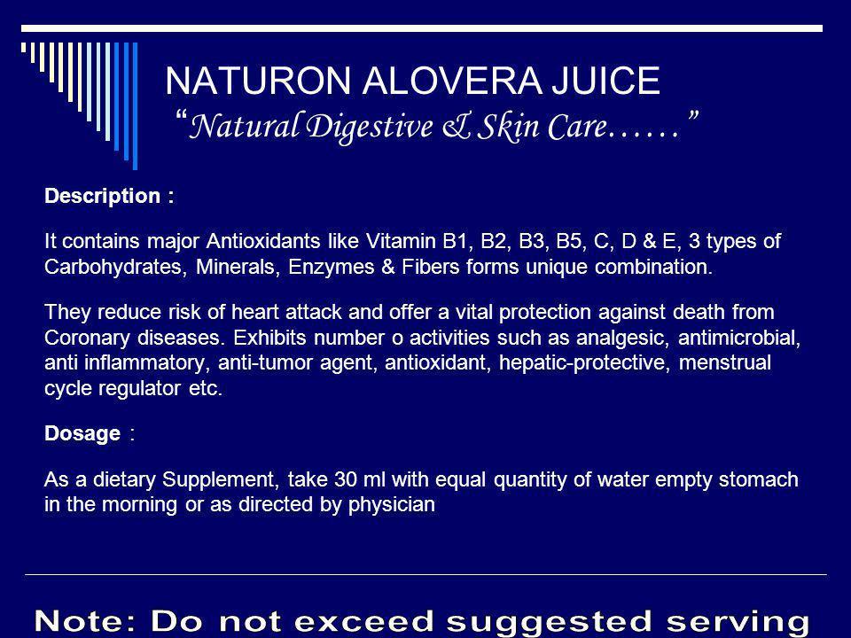 NATURON ALOVERA JUICE Natural Digestive & Skin Care……
