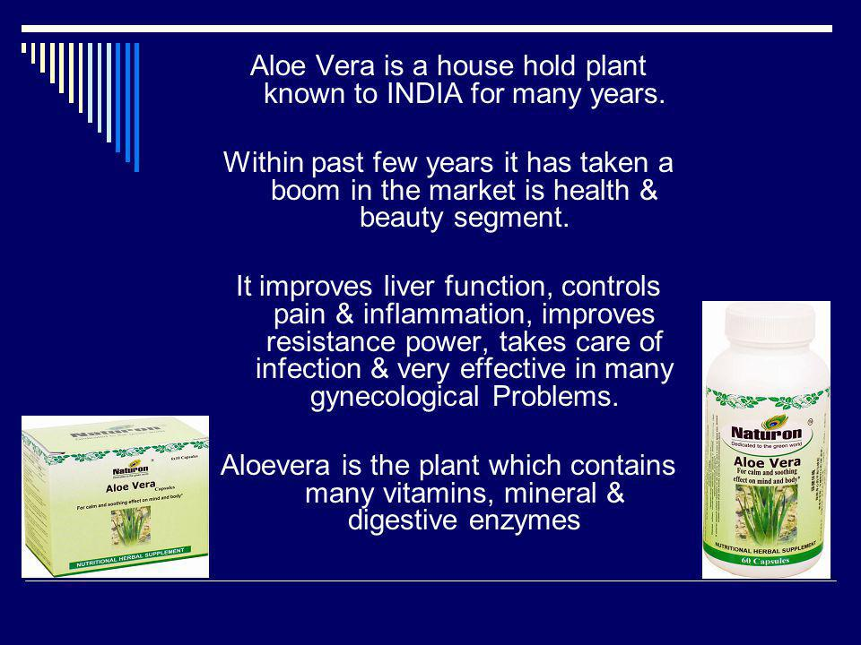 Aloe Vera is a house hold plant known to INDIA for many years.