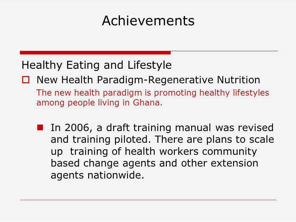 Achievements Healthy Eating and Lifestyle