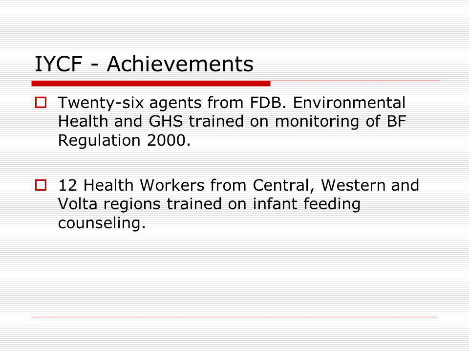 IYCF - Achievements Twenty-six agents from FDB. Environmental Health and GHS trained on monitoring of BF Regulation 2000.