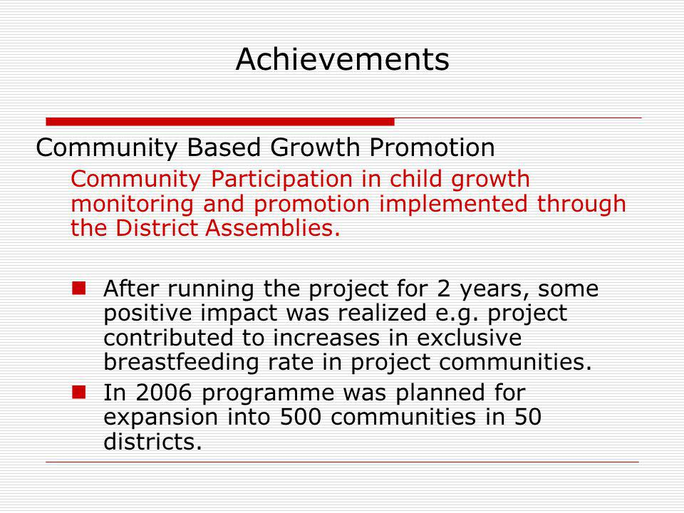 Achievements Community Based Growth Promotion