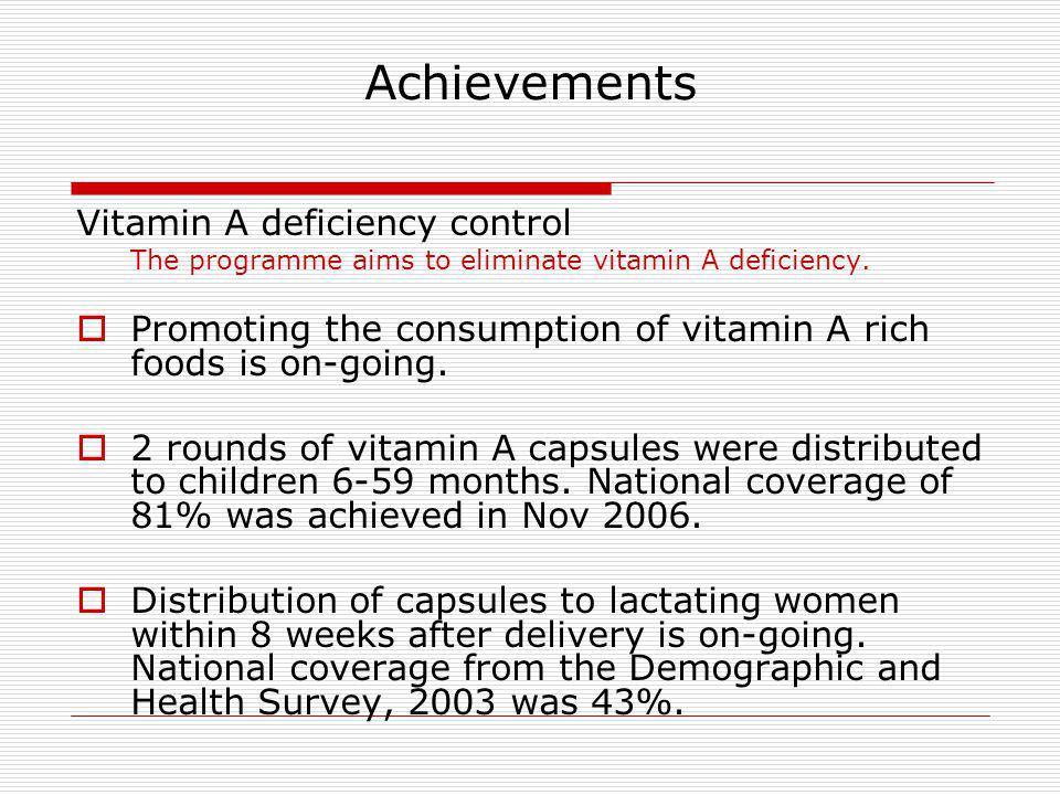 Achievements Vitamin A deficiency control