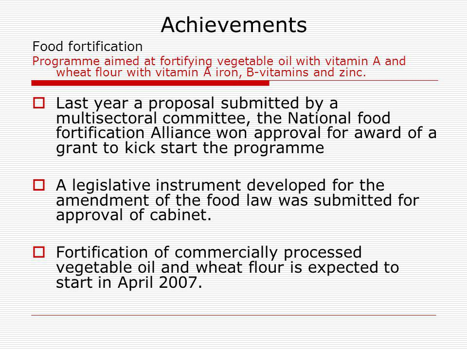 Achievements Food fortification.