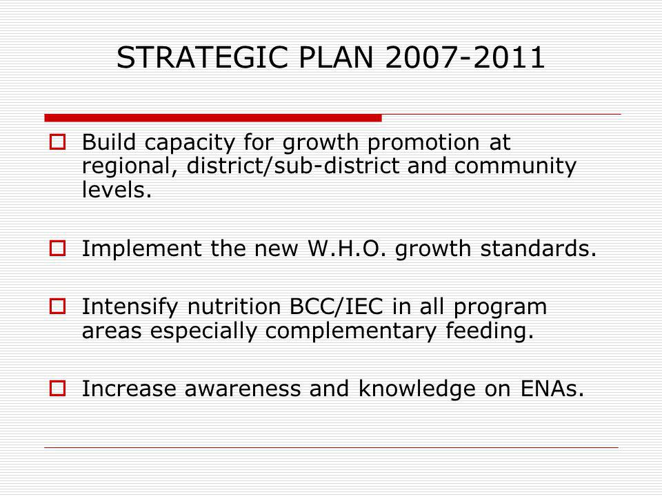 STRATEGIC PLAN 2007-2011 Build capacity for growth promotion at regional, district/sub-district and community levels.