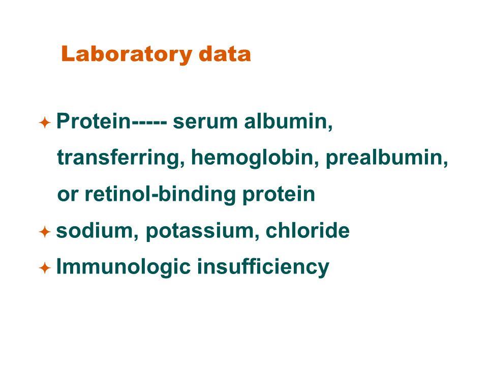 Laboratory data  Protein----- serum albumin, transferring, hemoglobin, prealbumin, or retinol-binding protein.