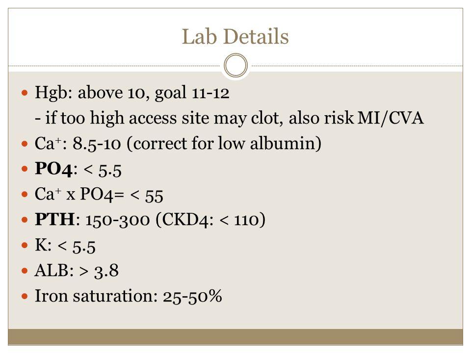 Lab Details Hgb: above 10, goal 11-12
