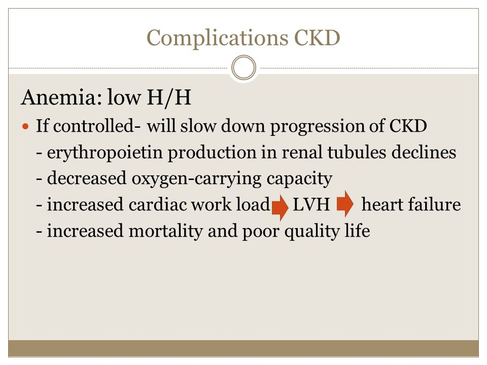 Complications CKD Anemia: low H/H