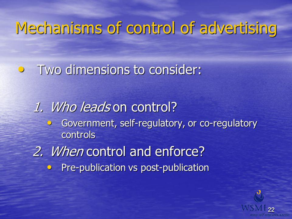 Mechanisms of control of advertising