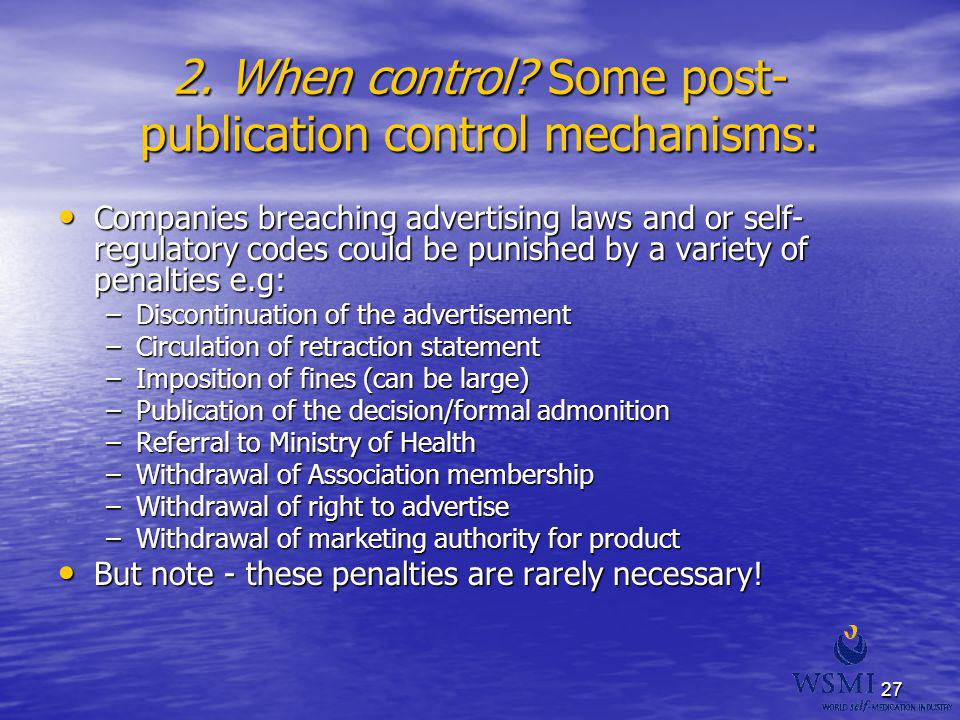 2. When control Some post-publication control mechanisms: