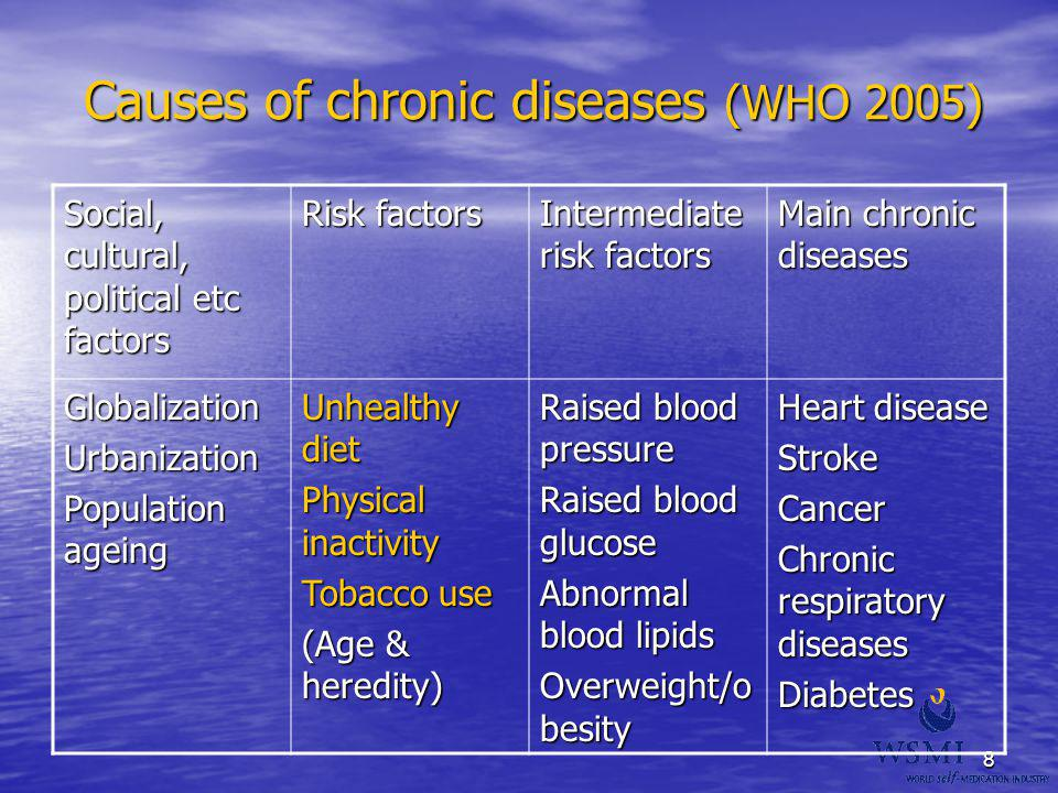 Causes of chronic diseases (WHO 2005)