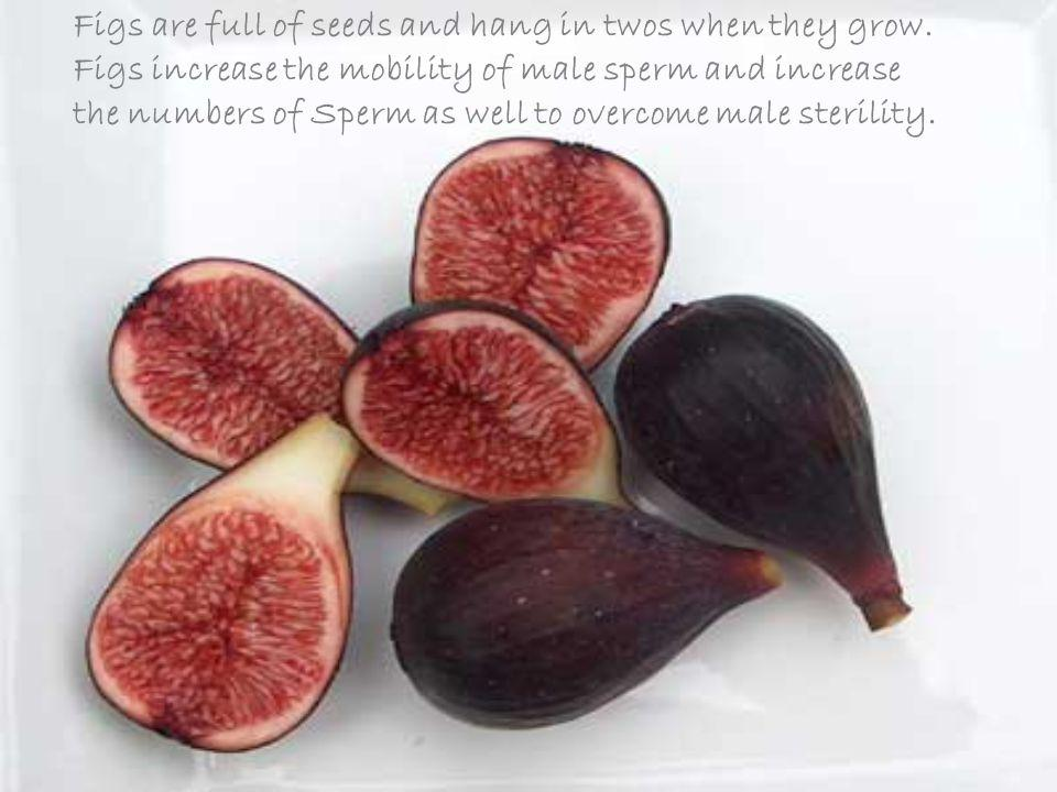 Figs are full of seeds and hang in twos when they grow.