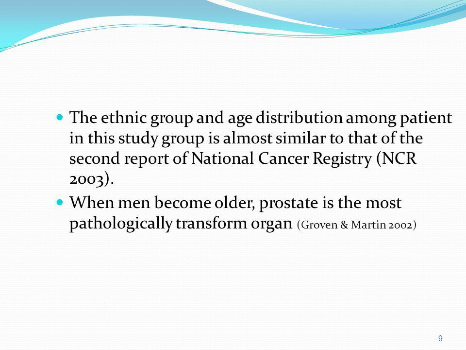 The ethnic group and age distribution among patient in this study group is almost similar to that of the second report of National Cancer Registry (NCR 2003).