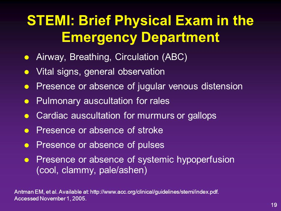 STEMI: Brief Physical Exam in the Emergency Department