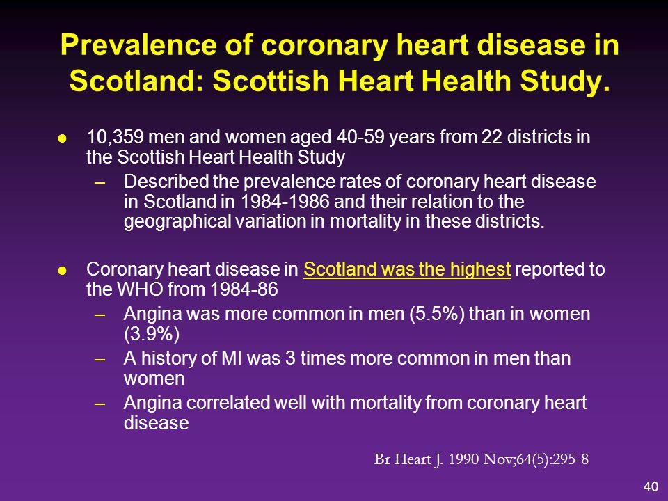 Prevalence of coronary heart disease in Scotland: Scottish Heart Health Study.