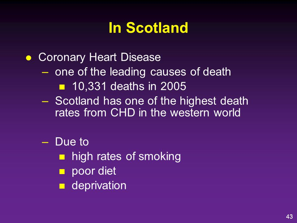 In Scotland Coronary Heart Disease one of the leading causes of death