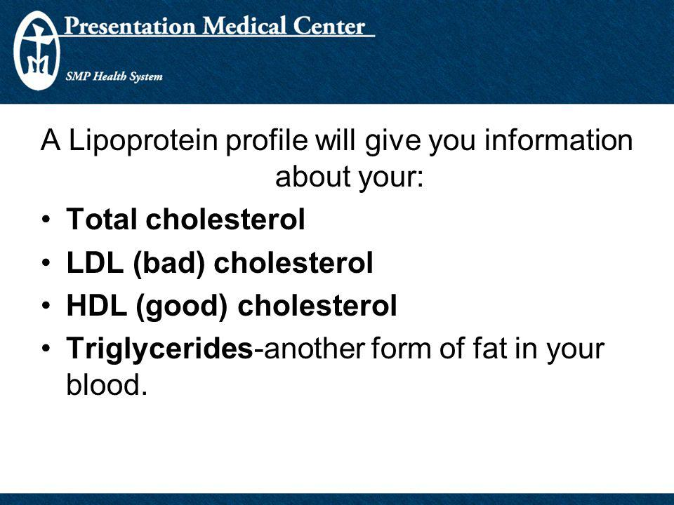 A Lipoprotein profile will give you information about your:
