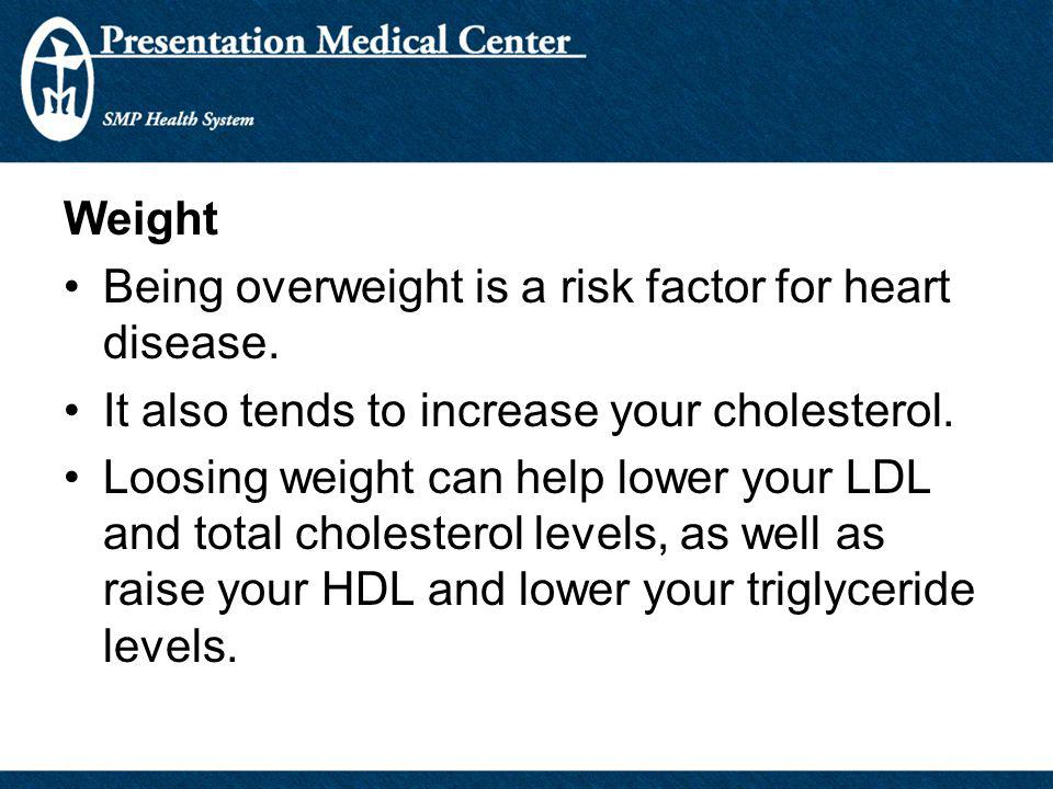 Weight Being overweight is a risk factor for heart disease. It also tends to increase your cholesterol.