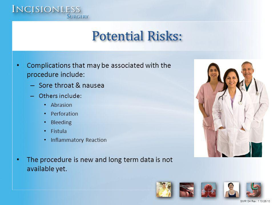 Potential Risks: Complications that may be associated with the procedure include: Sore throat & nausea