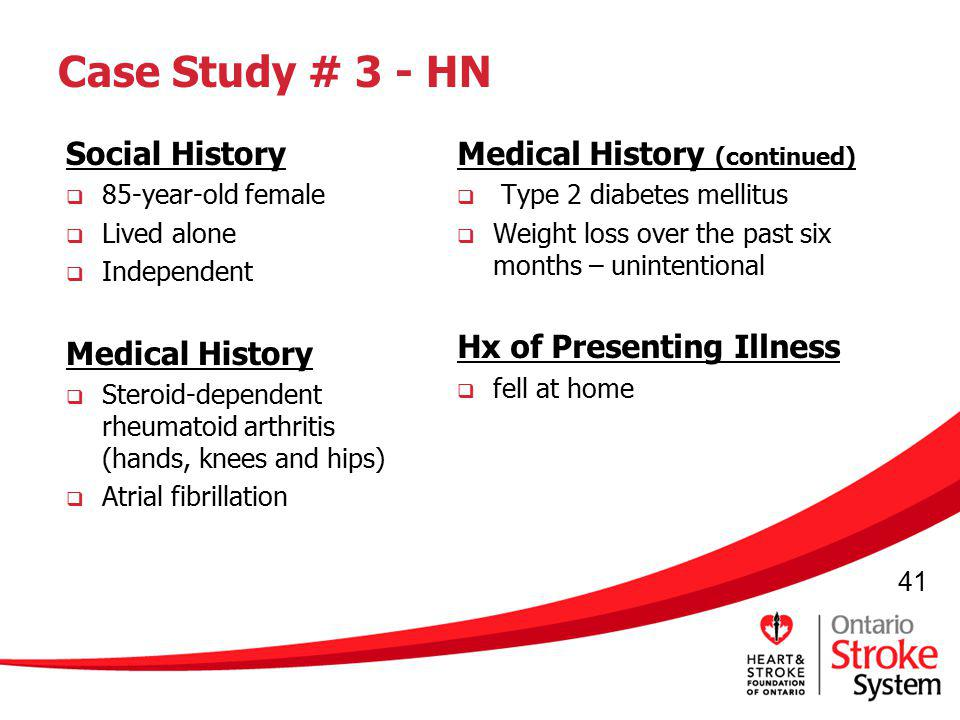 Case Study # 3 - HN Social History Medical History