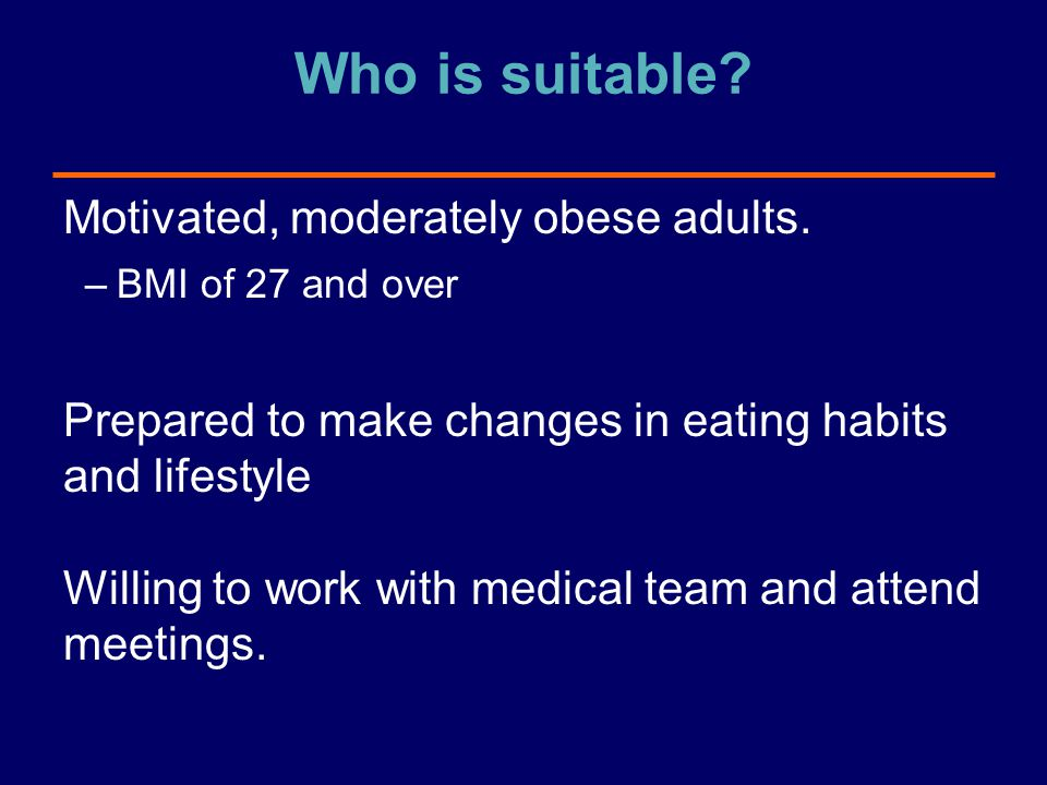 Who is suitable Motivated, moderately obese adults.