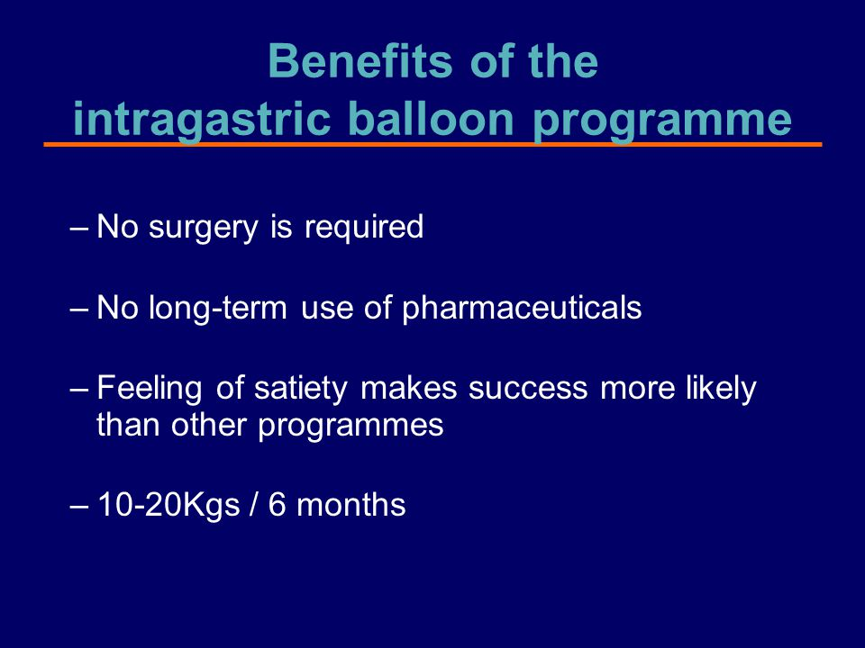 Benefits of the intragastric balloon programme