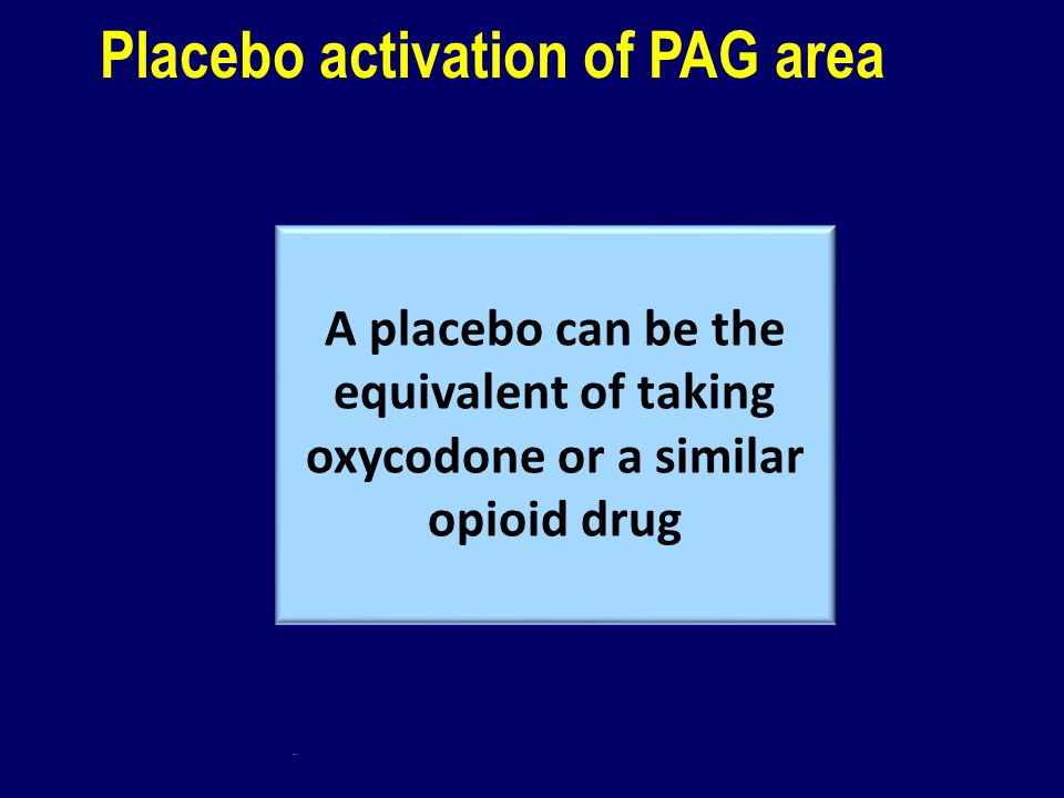 Placebo activation of PAG area