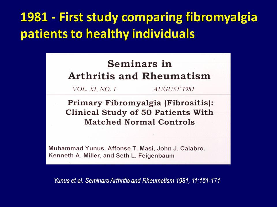 1981 - First study comparing fibromyalgia patients to healthy individuals