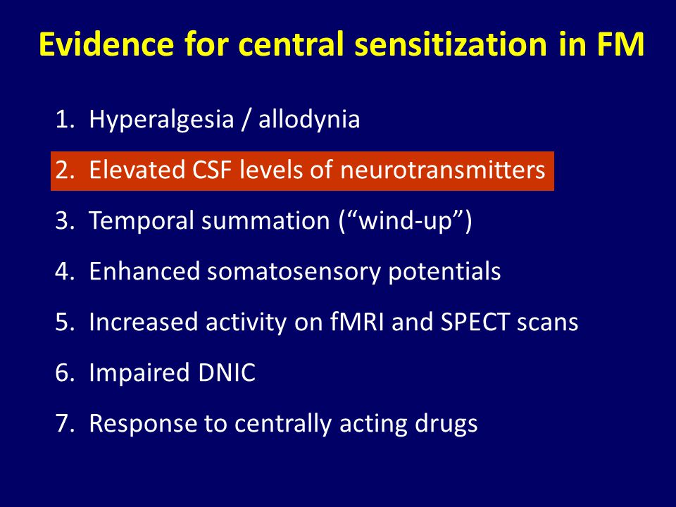 Evidence for central sensitization in FM