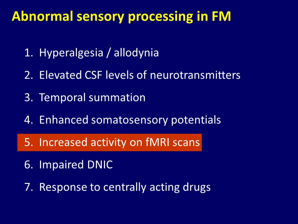 Abnormal sensory processing in FM