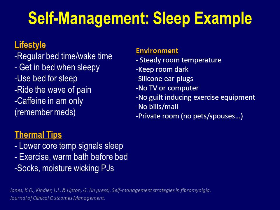 Self-Management: Sleep Example