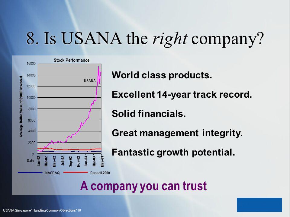 8. Is USANA the right company