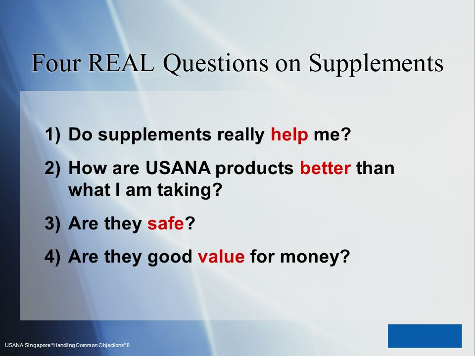 Four REAL Questions on Supplements