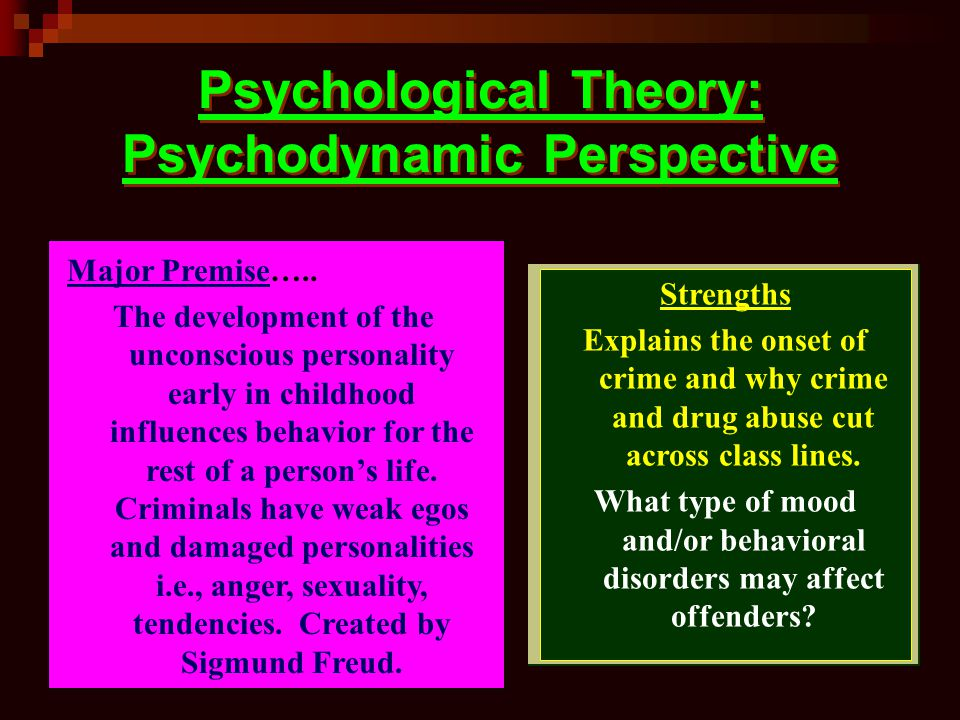 Psychological Theory: Psychodynamic Perspective