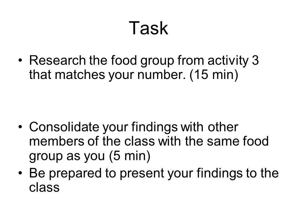 Task Research the food group from activity 3 that matches your number. (15 min)