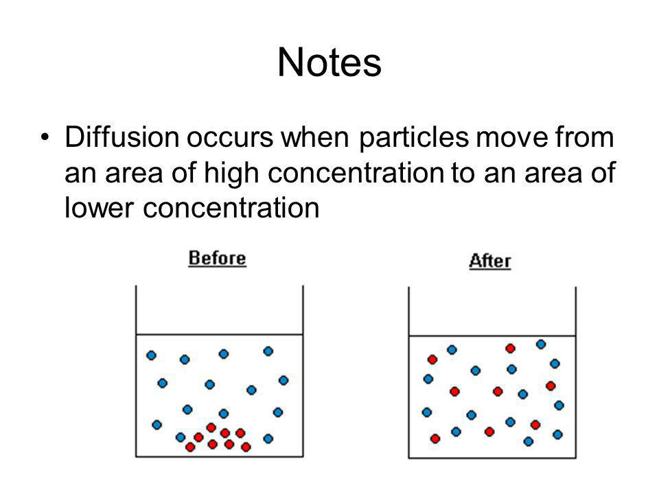 Notes Diffusion occurs when particles move from an area of high concentration to an area of lower concentration.
