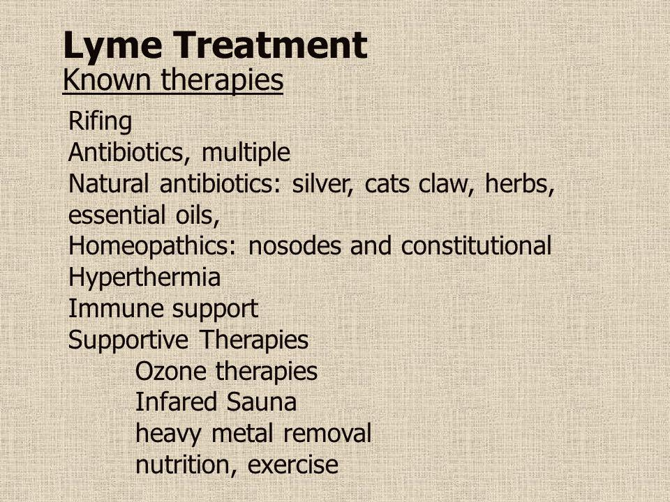 Lyme Treatment Known therapies