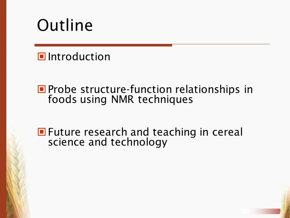 Outline Introduction. Probe structure-function relationships in foods using NMR techniques.