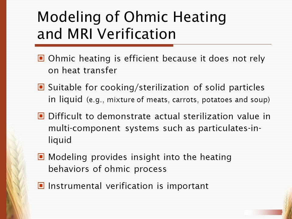Modeling of Ohmic Heating and MRI Verification