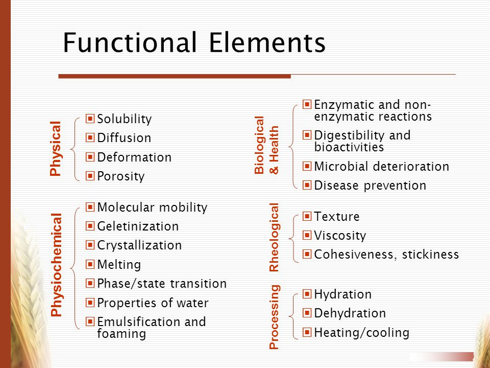 Functional Elements Physical Physiochemical