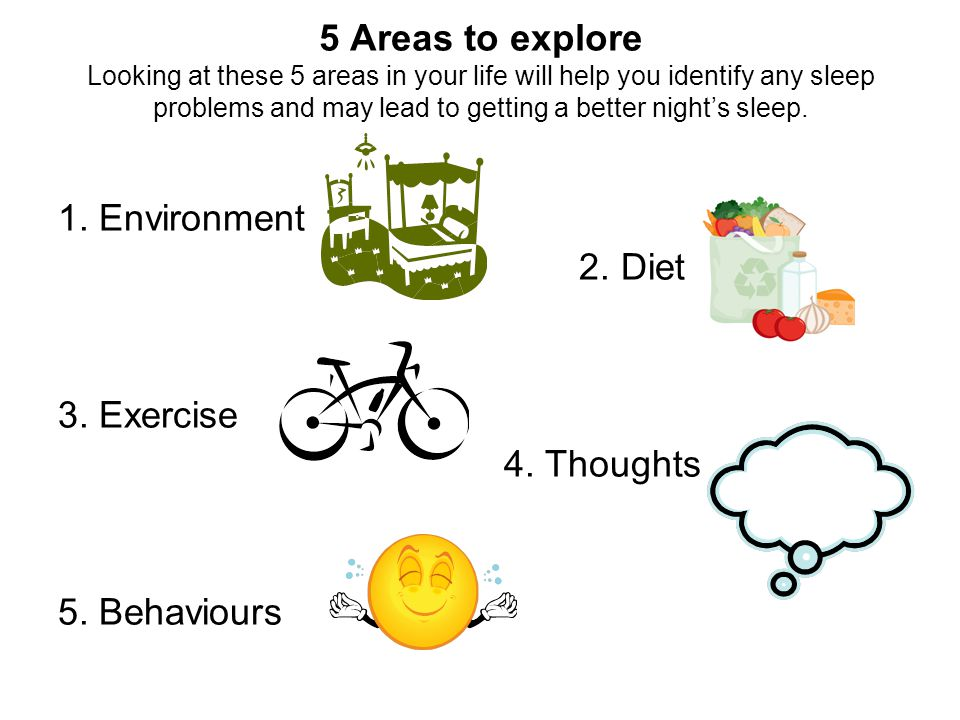 5 Areas to explore Looking at these 5 areas in your life will help you identify any sleep problems and may lead to getting a better night's sleep.