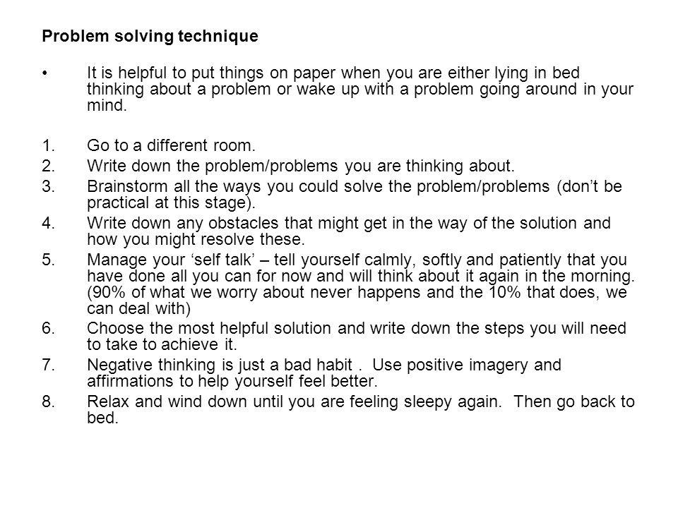 Problem solving technique