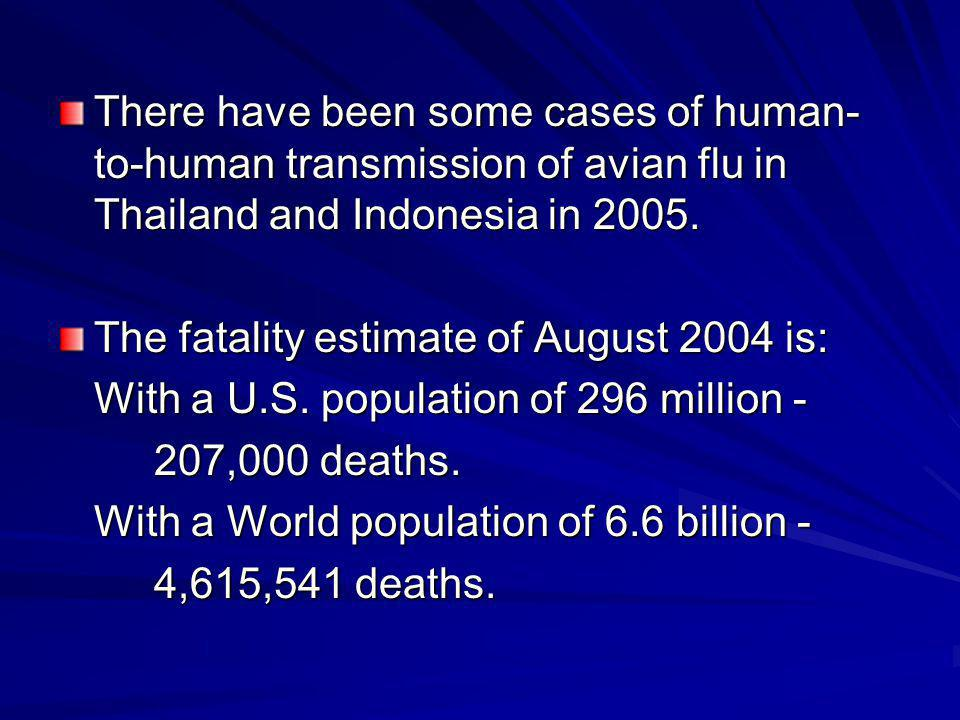 There have been some cases of human-to-human transmission of avian flu in Thailand and Indonesia in 2005.