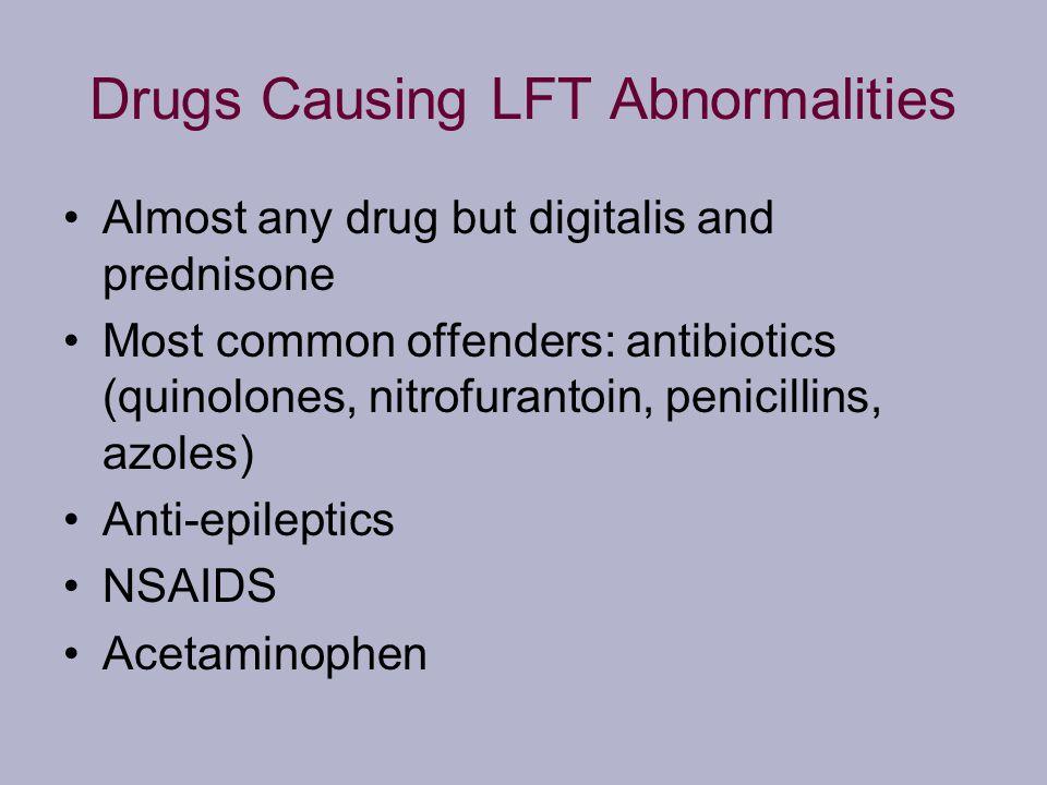 Drugs Causing LFT Abnormalities