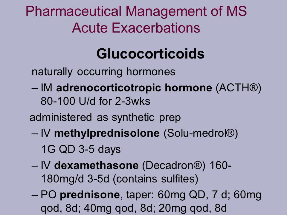 Pharmaceutical Management of MS Acute Exacerbations