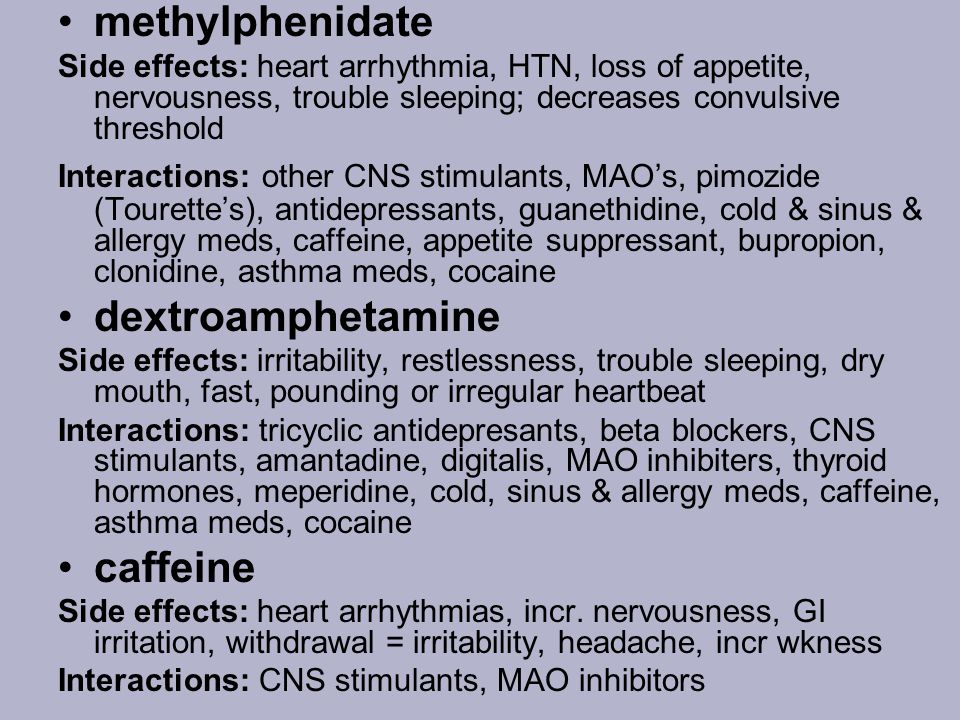 methylphenidate dextroamphetamine caffeine