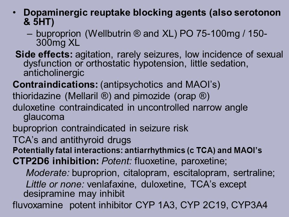 Dopaminergic reuptake blocking agents (also serotonon & 5HT)