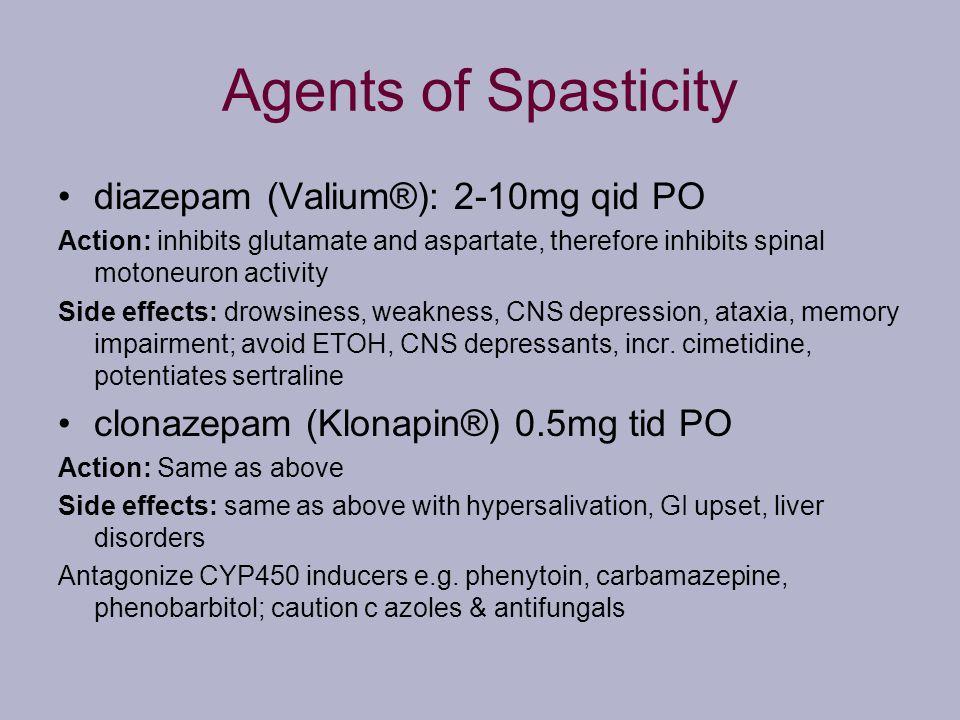 Agents of Spasticity diazepam (Valium®): 2-10mg qid PO