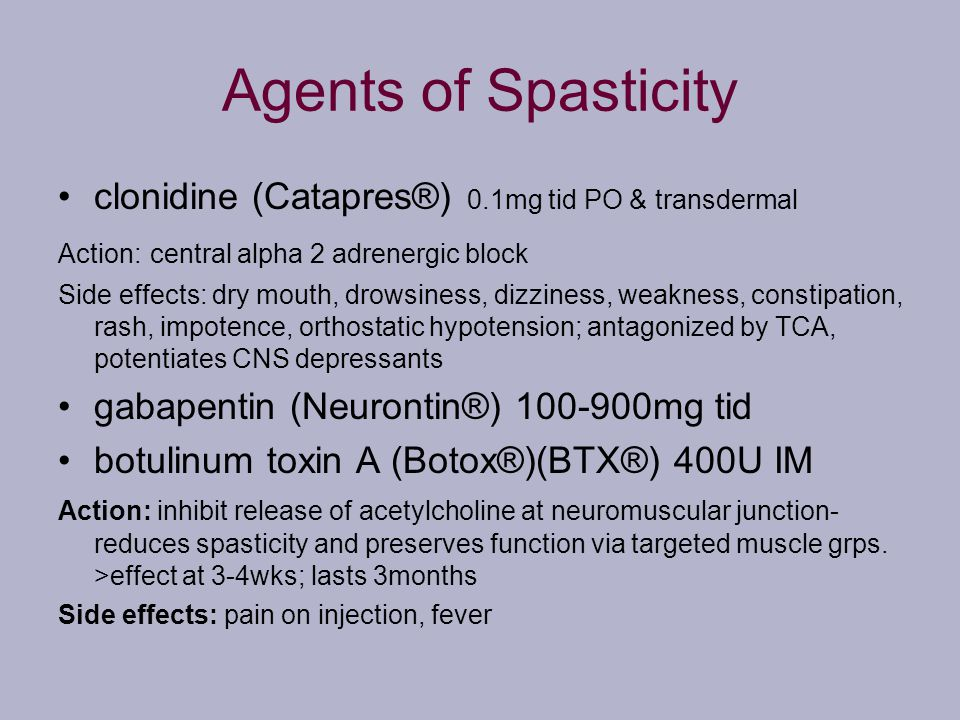 Agents of Spasticity clonidine (Catapres®) 0.1mg tid PO & transdermal